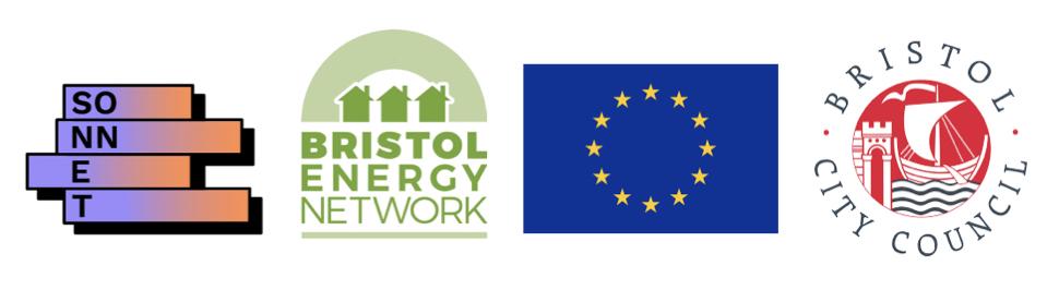 SONNET logo, Bristol Energy Network logo, EU flag, Bristol City Council logo