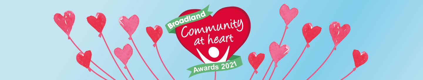 Community at Heart Awards 2021 - logo with blue background and heart balloons