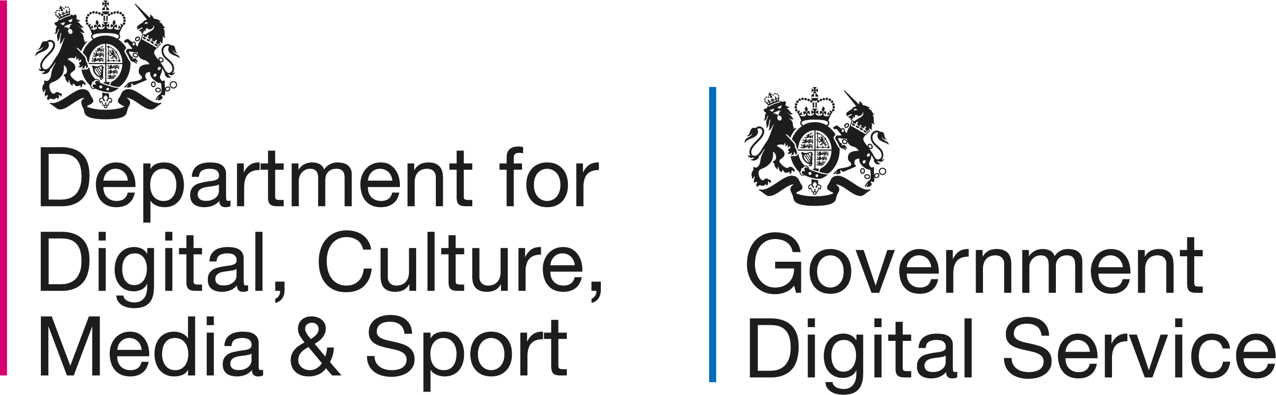 Logos of the Department for Digital, Culture, Media and Sport and the Government Digital Service