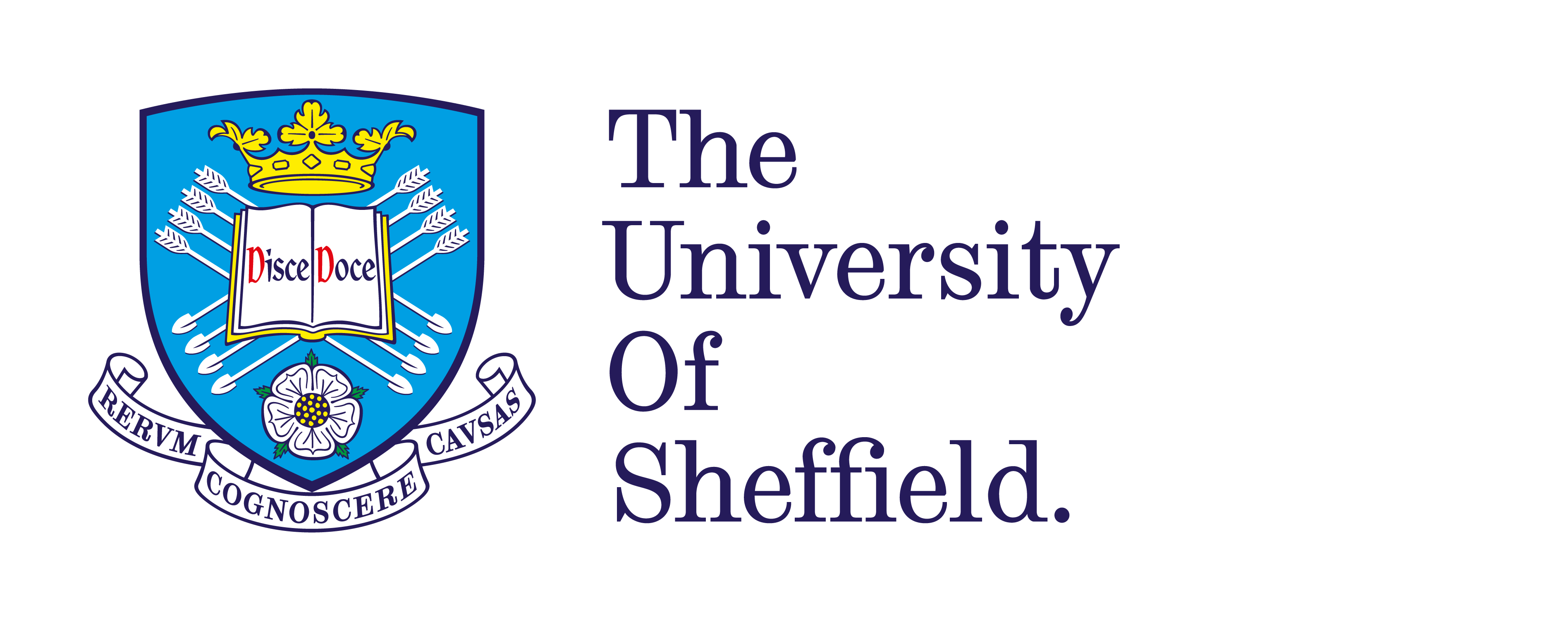 A blue crest next to the words 'The University Of Sheffield.'